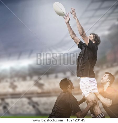 Rugby fans in arena copy space against rugby players jumping for line out 3d