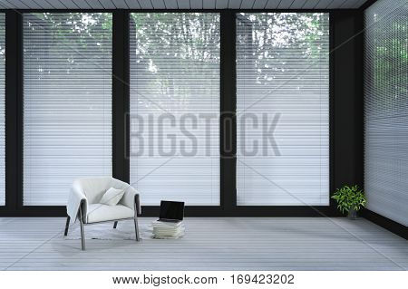 3d Rendering : illustration of chair in a light spacious modern minimalism livingroom with large windows in white decor. loft livingroom home in a wild. resort or home interior