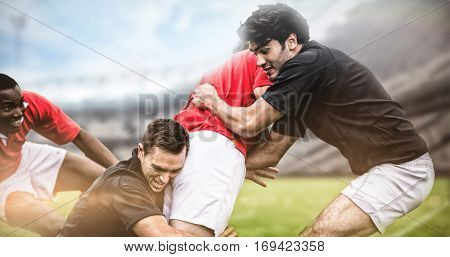Rugby fans in arena against rugby players tackling during game 3d