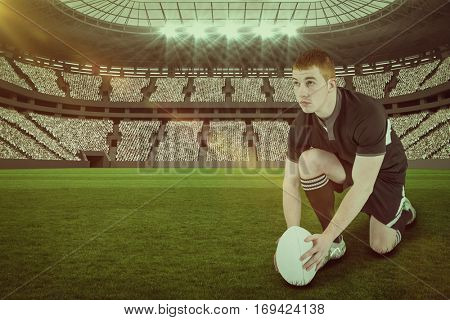 Rugby player ready to make a drop kick against rugby stadium with copy space 3d