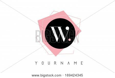 W Letter Pastel Geometric Logo Design with Round and Rectangular Shapes.