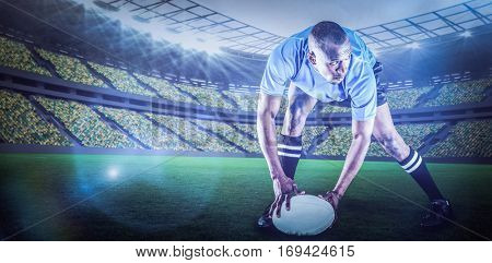 Rugby player holding ball while playing against rugby stadium with copy space 3d