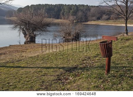 Benches with shelter Bor Lake in late autumn