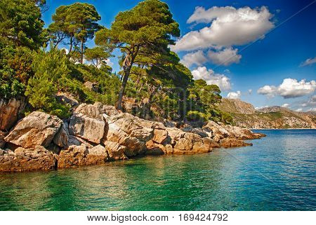 Beautiful summer landscape with coast of Adriatic Sea, Dalmatia, Croatia