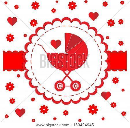 babe stroller red polka dot heart card vector illustration