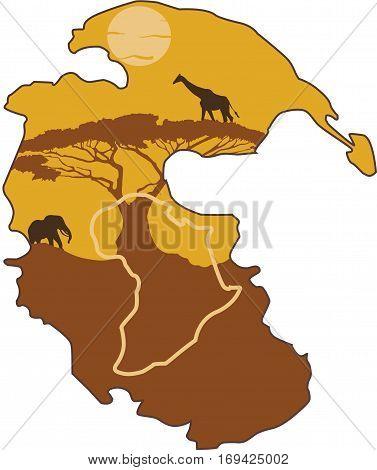 Imagem da pangea com Africa destacada. All one yesterday.