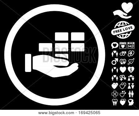 Service Schedule icon with bonus romantic symbols. Vector illustration style is flat rounded iconic white symbols on black background.