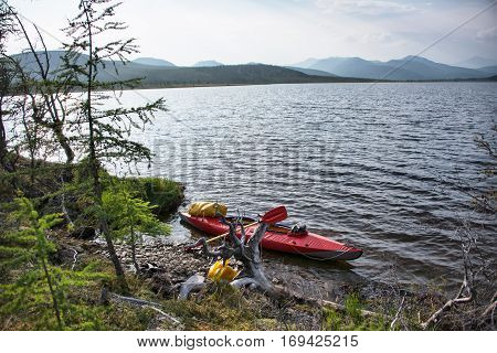 Kayaking in the north lake yakutia Eastern Siberia