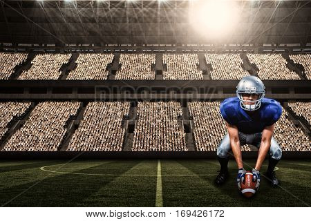 Portrait of American football player placing ball against football stadium with fans in white with copy space 3d