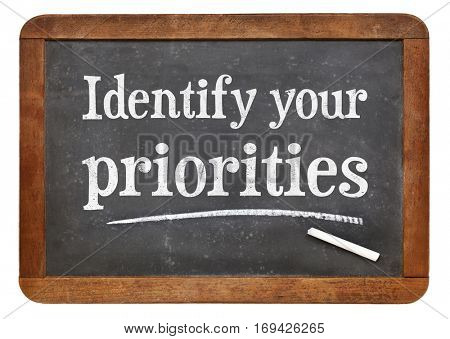 Identify your priorities - white chalk text on a vintage slate blackboard