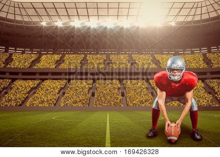 American football player placing ball while playing against large football stadium with fans in yellow with copy space 3d