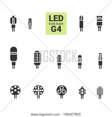 Led Light G4 Bulbs Vector Silhouette Icon Set