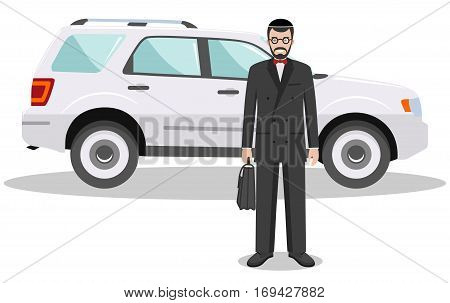 Detailed illustration of automobile and jew businessman on white background in flat style.