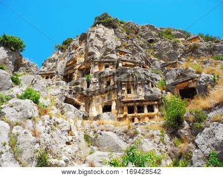 Lycian rock tombs in the ancient Mira Turkey.