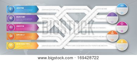 infographics arrows, plexiform shuffle pointed to different goals. Vector illustration