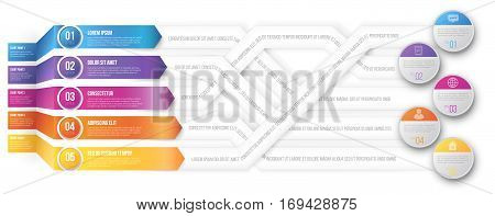infographics arrows, 3D looks plexiform shuffle pointed to different goals. Vector illustration
