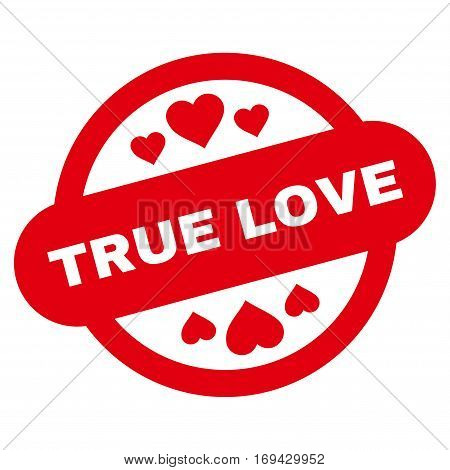True Love Stamp Seal flat icon. Vector red symbol. Pictogram is isolated on a white background. Trendy flat style illustration for web site design logo ads apps user interface.
