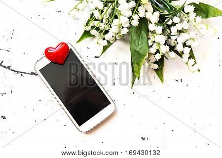 Smart Phone With Red Heart, Top View