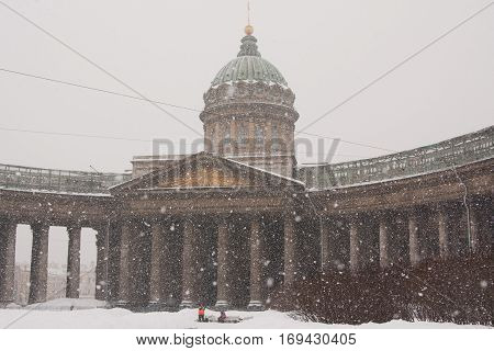 view to Kazan sobor in winter evening. Russia St. Petersburg