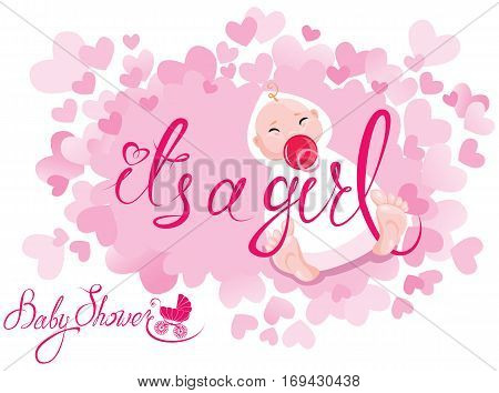 Baby Shower. It's a girl congratulations on the birth of girl. Pink background with hearts.