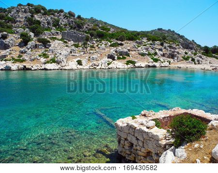 The ruins of the ancient submerged city at Kekova island Turkey.