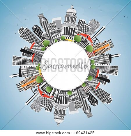 Sacramento Skyline with Gray Buildings, Blue Sky and Copy Space. Vector Illustration. Business Travel and Tourism Concept with Modern Architecture. Image for Presentation Banner Placard and Web Site.