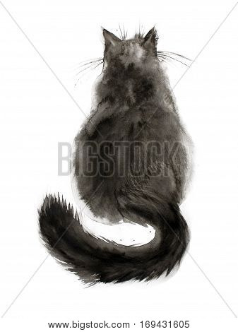 Watercolor painting of black fluffy cat. Back view. Hand drawn ink art