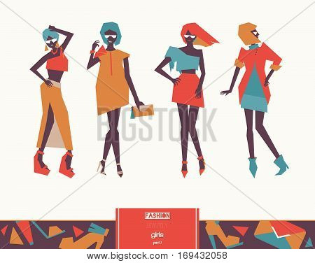 Set with beautiful stylish fashion girls posing. Vector geometric low poly illustration with vogue women silhouettes with bright clothing and various poses. Isolated on background female figures.