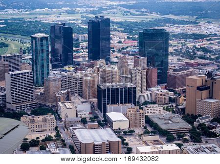 Fort Worth Texas June 16 2013 United States of America Aerial view of downtown Fort Worth Texas
