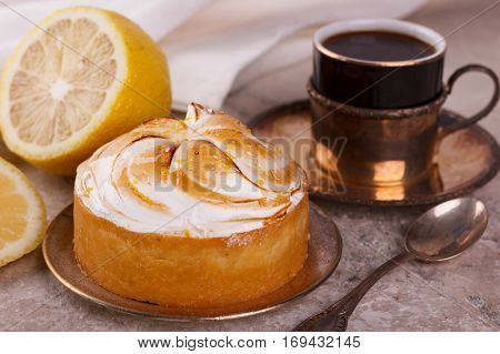 Lemon Tart Pie With Cup Of Coffee