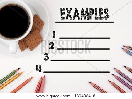 Examples blank list. White desk with a pencil and a cup of coffee.
