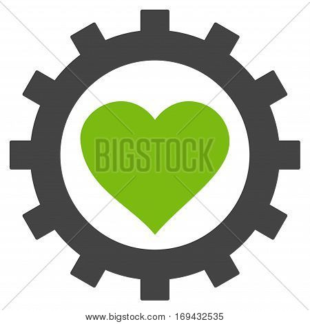 Love Heart Options Gear flat icon. Vector bicolor light green and gray symbol. Pictogram is isolated on a white background. Trendy flat style illustration for web site design logo ads apps