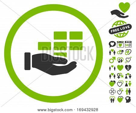 Service Schedule pictograph with bonus valentine graphic icons. Vector illustration style is flat rounded iconic eco green and gray symbols on white background.