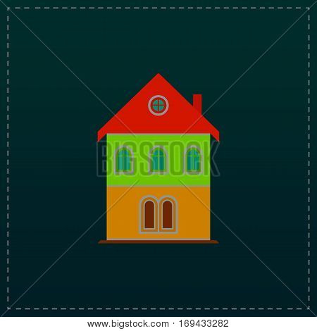Simple old house. Color symbol icon on black background. Vector illustration