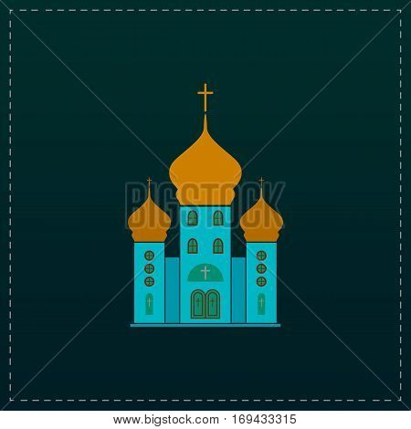 Church. Color symbol icon on black background. Vector illustration