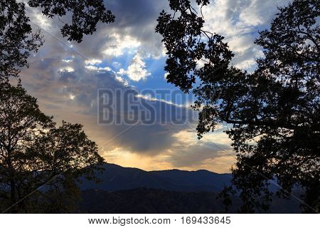 Brilliant amazing sunset in Carmel Valley California.