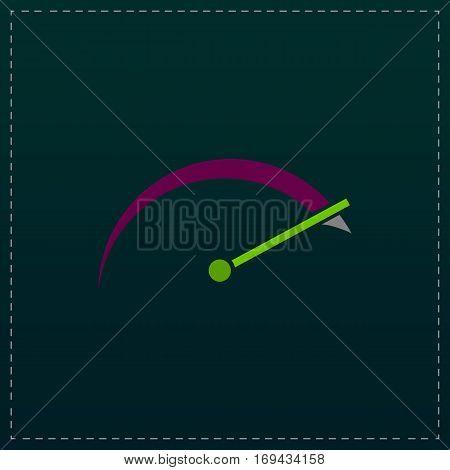 Tachometer. Color symbol icon on black background. Vector illustration