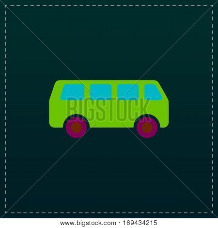 Minibus. Color symbol icon on black background. Vector illustration