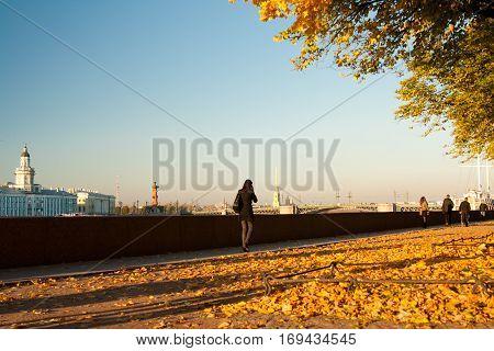 Autumn on embankment River Neva Saint Petersburg Russia