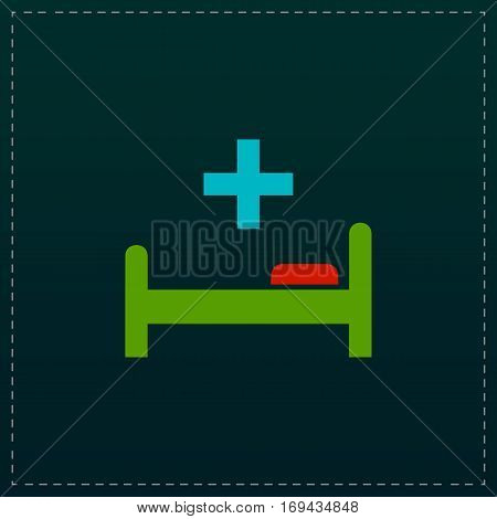 Hospital bed and cross. Color symbol icon on black background. Vector illustration