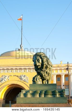Saint-Petersburg the figure of a watchdog lion at the Admiralty embankment