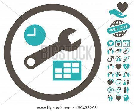 Date And Time Setup pictograph with bonus amour pictograph collection. Vector illustration style is flat rounded iconic grey and cyan symbols on white background.