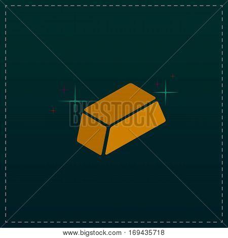 Gold bullion. Color symbol icon on black background. Vector illustration