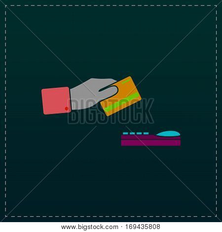 Hand swiping a credit card. Color symbol icon on black background. Vector illustration