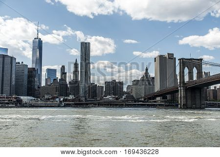 New York City USA Skyline Big Apple Hudson River and Brooklyn bridge
