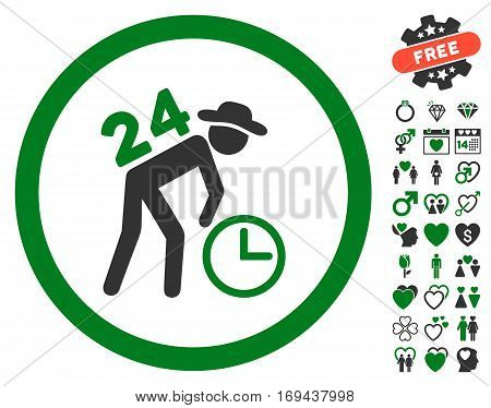 Around The Clock Work pictograph with bonus decorative images. Vector illustration style is flat rounded iconic green and gray symbols on white background.