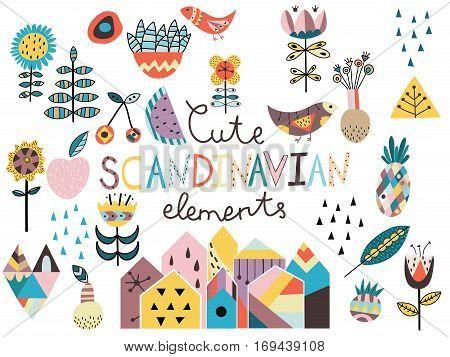 Set of cute scandinavian style elements. Hand drawn vector illustration.