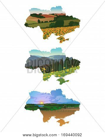 landscapes in the background of the map of Ukraine on a white background