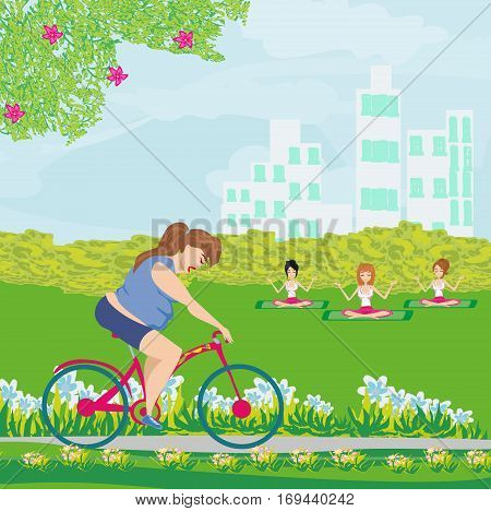 Overweight woman rides on bike , vector illustration