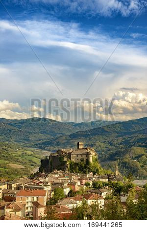 The village Bardi and its castle, Emilia-Romagna, Italy
